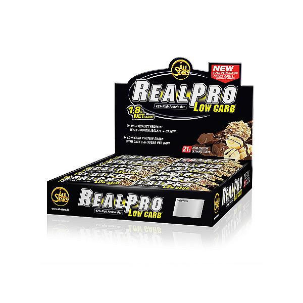 All Stars Real-Pro Low Carb baltyminių batonėlių pakuotės vaizdas
